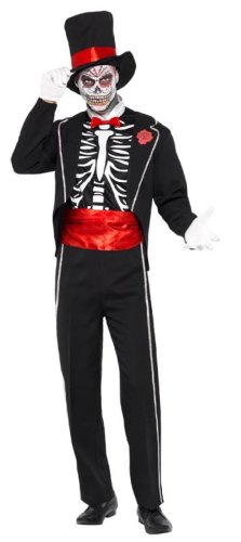 Smiffy's Men's Day Of The Dead Costume with Jacket Mock Shirt Front Hat and Gloves, Multi, Medium