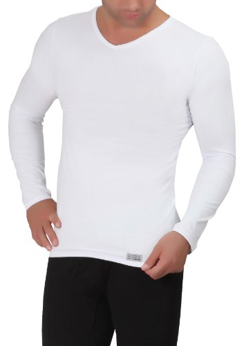 Uniconf - Herren Langarm Unterhemd / Winter Unterwäsche (Weiß, XXL)