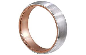 Men's Two Tone 18k Rose Gold Platinum Brushed Finish 6mm Comfort Fit Wedding Band Ring size 8.5