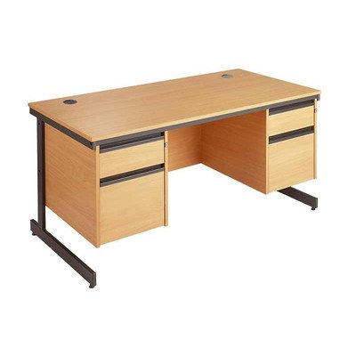 Maestro Straight C Frame Desk with Fixed Pedestals Size: 153.2cm, Finish: Oak, Drawers: 2 x 3