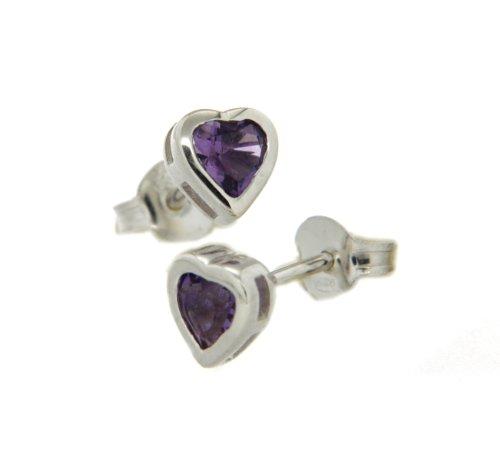 Silver ES1123-15 Amethyst Heart Stud Earrings