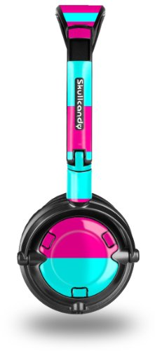 Skullcandy Lowrider Headphone Skin - Kearas Psycho Stripes Neon Teal And Hot Pink - (Headphones Not Included)