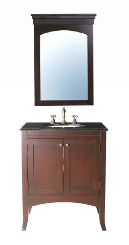 Stufurhome GM-6118-30-BG 30-Inch Lynette Single Vanity in Dark Cherry with Granite Top in Black Galaxy with White Undermount Sink and Mirror