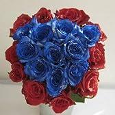 ブルードリーム 青いバラと赤いバラのラメ入り花束 80本 【生花】【お祝い】記念日】【誕生日】【フラワーギフト】【バラ】