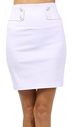 IMIButton-7755 High Waist Stretch Pencil Skirt with Button Detail - White / S