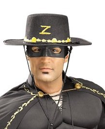 Adult Halloween Accessories Black Felt Spanish Zorro Bandit Costume Hat Theme Party Accessory