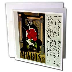 PS Vintage - Vintage Paris Travel Postcard  Red