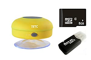 Wireless Mini Waterproof Bluetooth Suction Shower Car Handsfree Mic Speaker (Yellow) from TETC