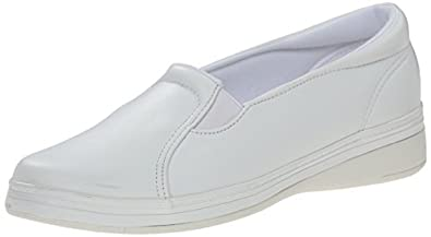Grasshoppers Women's Jensen Stretch Smooth Slip-On Sneaker,White Smooth,5 M