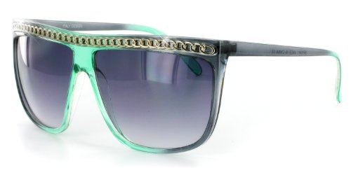 Gaga 10411 Designer Sunglasses with Large Lenses and Chain Brow Decoration For Stylish, Sexy Women (Green & Gray Frost)