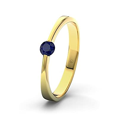 21DIAMONDS Maisie Engagement Women's Ring 14 Carat (585) Yellow Gold Stunning Round Brilliant Cut Blue Sapphire Color Engagement Ring