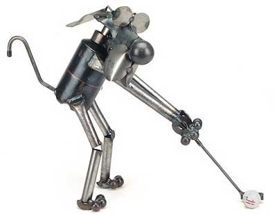 Golfer Dog Recycled Metal Sculpture