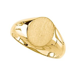 10K Yellow Gold Signet Ring: 10x8mm Size: 12