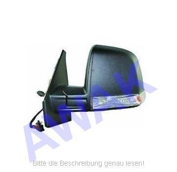 Fiat Doblo II 10- Aussenspiegel (links=Fahrerseite) Seilkabel betätigt, Gehäuse-texturiert, mit Blinker, Glas-convex [C] [TX] [CV] [LMP] [L]