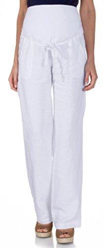Damen Leinen Schwangerschaftshose Umstands Hose mit Bauchband (S (34-36), white (leinen))