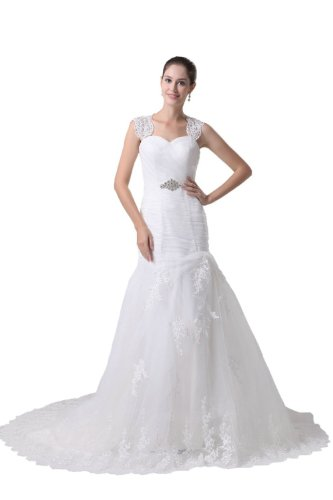 Albizia Mermaid Lace Straps Pleated Tulle with Appliques Wedding Dresses (2, White)