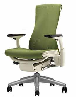 Embody Chair by Herman Miller - Fully Adjustable Arms - White Frame and Titanium Base - Standard Carpet Casters - Green Apple Rhythm
