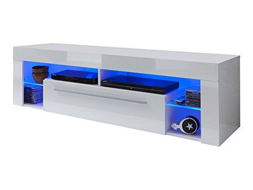 Maisonnerie 1475-850-01 Score Meuble TV Armoire Blanc Ultrabrillant LxHxP 153 x 44 x 44 cm