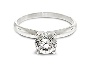 1/2 Ctw Solitaire Diamond Engagement Ring GH/I1-I2 14K White Gold by Diamond Studs Forever