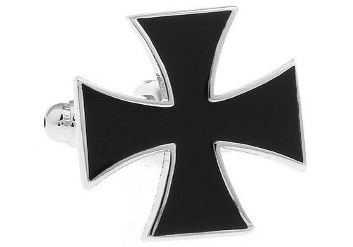 Croce Ferro Nero Gemelli Biker Dad religiosa + scatola e panno di pulizia