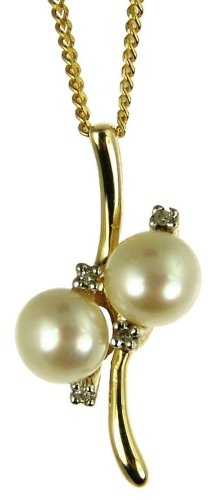 9ct Yellow Gold Ladies' Pearl and Diamond Pendant with 46cm Curb Chain