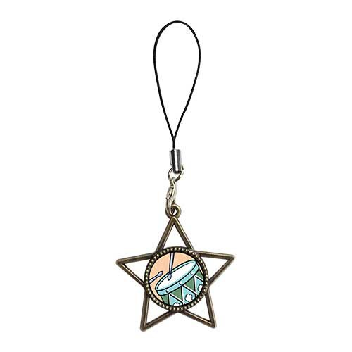Chicforest Ancient Bronze Retro Style Twelve Drumming Drummers Photo Storybook Photo Five Pointed Star Strap Hanging Chain For Phone Cell Phone Charm Dust Plug-Earphone Jack Accessories, Cell Charms, Dust Plug, Ear Jack Universal 3.5Mm Anti Dust Earphone