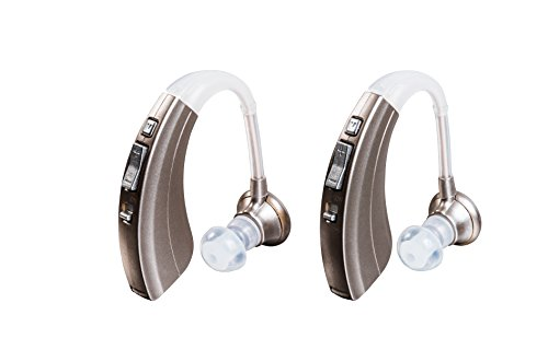 Britzgo BHA-220D Silver Hearing Amplifier, Modern and Fashion Designed Adjustable Tube to Fit Both Ears, Silver Gray