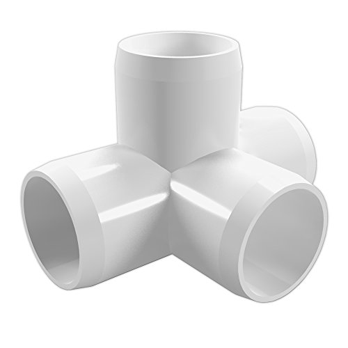 FORMUFIT F0014WT-WH-4 4-Way Tee PVC Fitting, Furniture Grade, 1″ Size, White (Pack of 4)