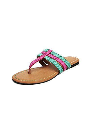 Lamere Lamere Women's Fashion Synthetic Pink Green Flats (LA-152) (Multicolor)