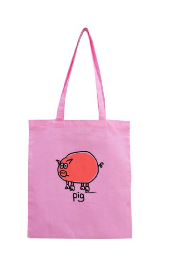 Oink! PIG cotton Tote bag. PINK. Recycle!