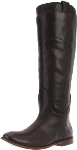 FRYE Women's Paige Tall Riding Boot,Dark Brown Calf Shine,7 M US