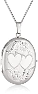 """Sterling Silver Oval Hand Engraved Four Picture Locket Necklace, 20"""""""