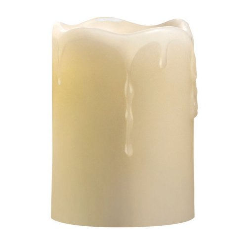 Candle Impressions Cat61314Cr01 4-Inch Melted Top Drip Pillar Flameless Candle With Vanilla Fragrance, Cream