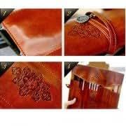 C328 Twilight Vintage Bundled Fold Three Leather High Capacity Pen Bag Makeup Bag Tidy Bag Pouch