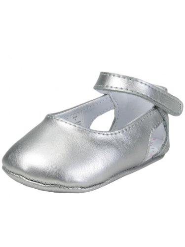 Baby / Infant Girls Silver Metallic Leather Hook & Loop Strap Shoe By Baby Deer - Metallic - 2 Infant front-846258