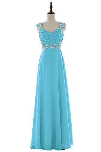 KAY&LAYLA Women's 2015 Long Gown with Cap Sleeves Chiffon Homecoming Gown
