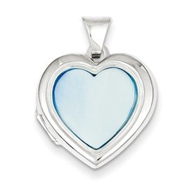 Genuine IceCarats Designer Jewelry Gift Sterling Silver Blue Mop 18Mm 2-Frame Heart Locket