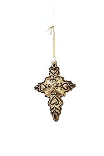 Sage & Co. XAO17502GD Glass Glittered Cross Ornament, 6-Inch