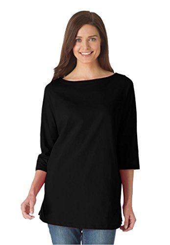 Women's Plus Size Perfect Boatneck Tee Black,1X