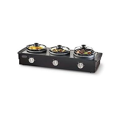 Nostalgia Electrics™ TSC-250BLK 2.5-Quart Triple Slow Cooker Buffet, Stainless/Black from Nostalgia Electrics