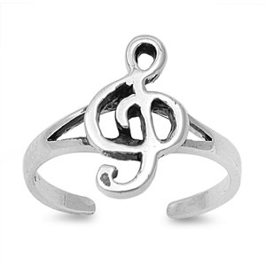 Musical Note Bliss 12MM Knuckle / Toe Ring Sterling Silver