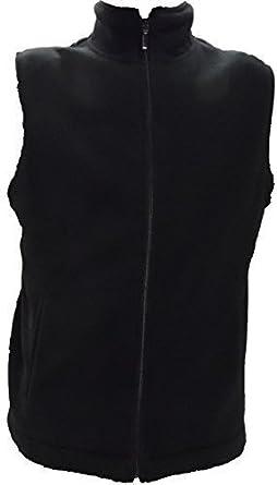 Polar Fleece Vest Ladies Mens Full Zip New Size XS S M L XL XXL XXXL 4XL (M, BLACK)