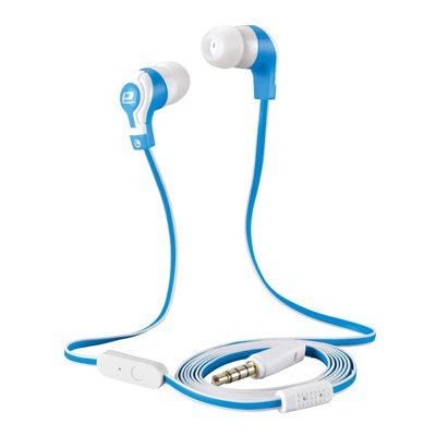 Beat & Kick Universl Handsfree Super Bass Stereo Earbud Headphones With Microphone For Tablets, Smart Phones, Mp3 Players, Cell Phones, S3/S4/S5 Portable Gaming (Blue-White)