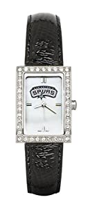 San Antonio Spurs Ladies Allure Black Leather Strap Watch by Logo Art