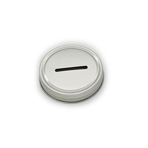 Stainless Steel Coin Slot Lids for Mason Jars (5 Pack, Regular Mouth)