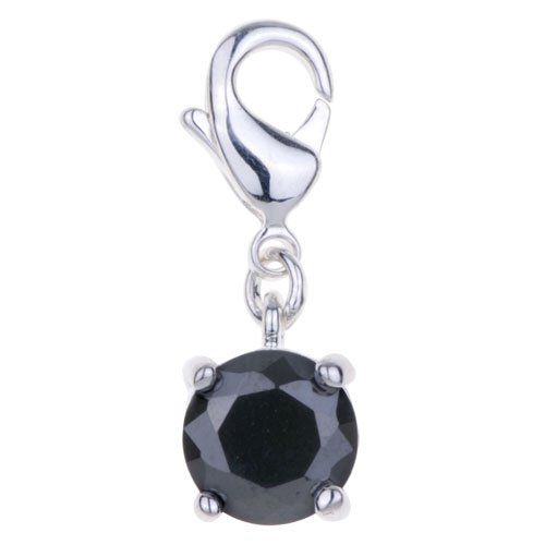 Pugster Amore Lavita(tm) Round Black Ball 925 Sterling Silver Lobster Clasp Charm For Charm Bracelet