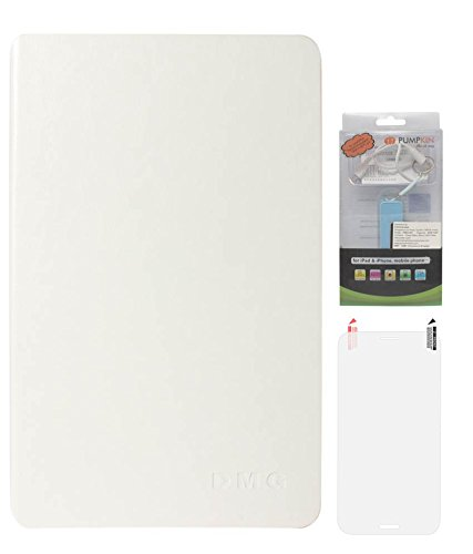 DMG Premium Leather Smart Folio Cover Case For Apple IPad Mini (White) + 2200 MAh PowerBank + Matte Screen