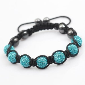 Nambeads © TURQUOISE Aquamarine Swarovski Crystal Bead SHAMBALLA BRACELET with 9 Iced out Disco ball beads covered in crystals and 4 highly polished Hematite beads. Beautiful handmade high quality Celebrity Fashion bracelet. Check our range of colours.