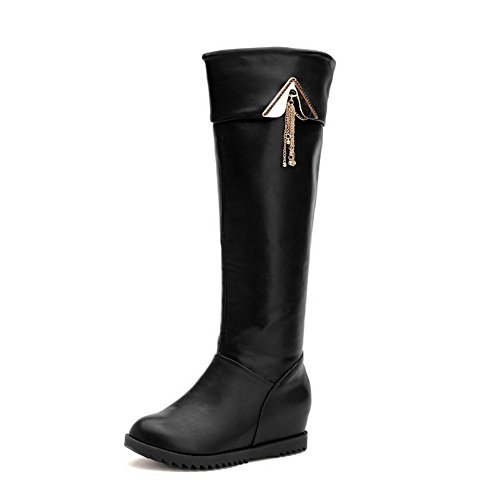 VogueZone009 Womens Closed Toe Round Toe Low Heels PU Soft Material Solid Boot with Metal Piece