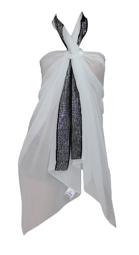 La Leela Sheer Black White Designer Sequin Embroidered Chiffon Beach Swim Hawaiian Sarong Pareo